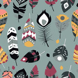 Seamless pattern with boho vintage tribal ethnic colorful vibrant feathers. Vector illustration Stock Photography