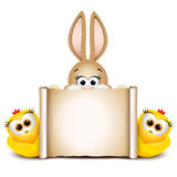 Postcard design template. Easter bunny with two funny chicken Royalty Free Stock Photo
