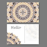 Postcard design with vintage decorative element. Template for greering card. Mandala vector illustration Stock Images