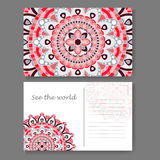Postcard design with vintage decorative element. Template for greering card. Mandala vector illustration Stock Image