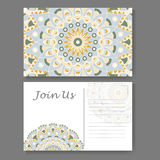 Postcard design with vintage decorative element. Template for greering card. Mandala vector illustration Royalty Free Stock Photos