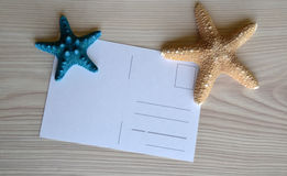Postcard on desktop for holidays royalty free stock photography