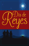 Postcard for `Dia de Reyes` for Epiphany with Three Magi, Vector Illustration Stock Photos