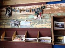 Postcard display. On board Stock Photos