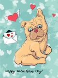Postcard dog, hearts and letter. Valentine s day Vector illustration. Hand drawing Royalty Free Stock Photo