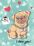 Postcard dog, hearts and letter. Valentine s day Vector illustration. Hand drawing Royalty Free Stock Photography