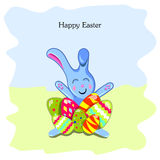 Postcard with Easter Bunny and eggs Stock Photography