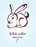 Postcard with easter bunny. Greeting card with a silhouette of a white rabbit. Vector illustration Stock Image