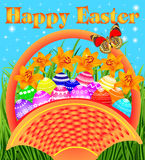 Postcard with Easter eggs in the basket. Illustration of a postcard with Easter eggs in the basket on the meadow Stock Photography
