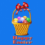 Postcard with Easter eggs in the basket on a blue  Stock Images
