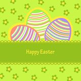 Postcard with Easter eggs painted in stripes Royalty Free Stock Photo