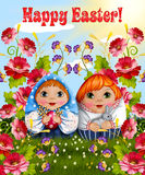 Postcard for Easter with a girl and boys in traditional Russian clothes Stock Images