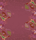 Postcard -  eastern  pattern with paisley and butterflies. Traditional ornament - vector Royalty Free Stock Photo