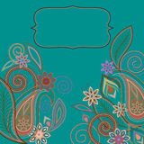 Postcard -  eastern  pattern with paisley and flowers. Traditional ornament - vector Royalty Free Stock Photos