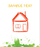 Postcard ecology. Vector illustration. Home icon Stock Photo
