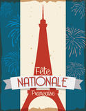 Postcard with Eiffel Tower Design to Celebrate French National Day, Vector Illustration Stock Photos