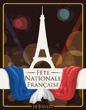 Postcard with Eiffel Tower and Flag for French National Day, Vector Illustration Royalty Free Stock Image
