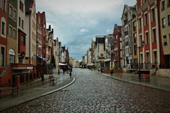 Postcard from Elblag. Rainy street in Elblag, Poland royalty free stock images