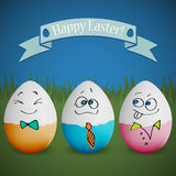Postcard for Ester with eggs with painted faces Royalty Free Stock Image