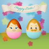 Postcard for Ester with eggs with painted faces Stock Images