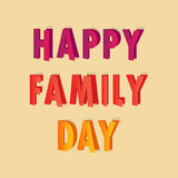 Postcard for the Family Day with bright letters. Greeting postcard for the Family Day with bright letters Stock Photos