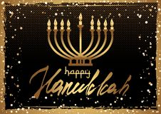 Postcard for Festival of Lights Hanukkah. Card for Festival of Lights, Feast of Dedication Hanukkah. Menorah with candles and hand written lettering in golden Royalty Free Stock Photography
