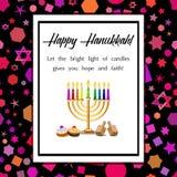 Postcard for Festival of Lights Hanukkah Royalty Free Stock Photos