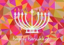 Postcard for Festival of Lights Hanukkah. Postcard for greetings with Festival of Lights, Feast of Dedication Hanukkah. Menorah with candles on pink polygonal Stock Photo