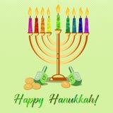 Postcard for Festival of Lights Hanukkah. Postcard for greetings with Festival of Lights, Feast of Dedication Hanukkah. Menorah with colorful candles, dreidels Royalty Free Stock Photography