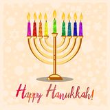 Postcard for Festival of Lights Hanukkah. Postcard for greetings with Festival of Lights, Feast of Dedication Hanukkah. Menorah with colorful candles on pale Stock Photo