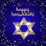Postcard for Festival of Lights Hanukkah. Postcard for Festival of Lights, Feast of Dedication Hanukkah. Golden shining star of David on deep blue background Royalty Free Stock Photos