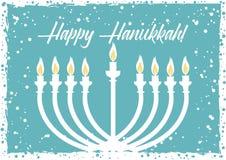 Postcard for Festival of Lights Hanukkah. Postcard for greetings with Festival of Lights, Feast of Dedication Hanukkah. Menorah with candles on light blue Stock Image