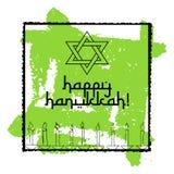 Postcard for Festival of Lights Hanukkah. Postcard for greetings with Festival of Lights, Feast of Dedication Hanukkah. Star of David and eight candles on green Stock Image