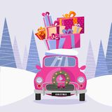 Postcard in a flat cartoon girlish style with a cute pink retro car decorated with a Christmas wreath that carries gift colorful vector illustration