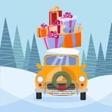 Postcard in flat cartoon style with cute yellow retro car decorated with Christmas wreath that carries gift colorful boxes with vector illustration