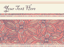 Postcard with floral background in yellow-orange with purple out. Line and place for text. Vector illustration Stock Image