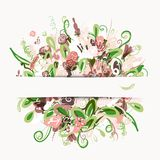 Postcard with floral bouquet for your design Royalty Free Stock Photos