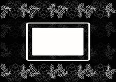 Postcard with floral composition. Postcard with a floral composition with space for text. Black and white drawing. Postcard with flowers for wedding, marriage Stock Photography