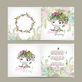 Postcard floral design with cute girl sketch Stock Images
