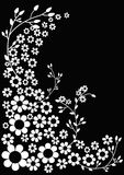 Postcard with floral print. Decorative postcard with flowers on a black background. Vector illustration Stock Images
