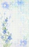 Tender light background composition with delicate blue flower. Grunge background. Postcard floral template. royalty free illustration