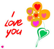 Postcard flower and the text. I love you. White background. Vector Royalty Free Stock Image