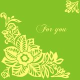 Postcard with flowers. Postcard for holiday with tracery flowers on a green background royalty free illustration