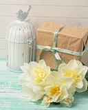Postcard with  flowers and gift box Royalty Free Stock Photo