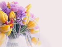 Greeting Card. Bouquet of Colorful Mixed Flowers - Tulips in a Vase. Floristics Stock Photo