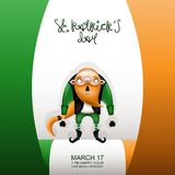 Gretting card flag and caudate gnome. Postcard, flyer, invitation to a holiday or a party. Greeting inscription, Irish flag and character with a red beard. Funny royalty free illustration