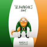Gretting card flag and gnome caudate. Postcard, flyer, invitation to a holiday or a party. Greeting inscription, Irish flag and character with a red beard and stock illustration