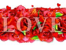 Postcard For Lovers With Roses On An Abstract Background. Royalty Free Stock Photo