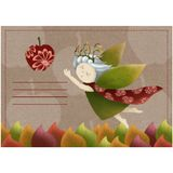 Postcard with a forest nymph. A template with a little girl with leaves. Cute. Princess on a paper with apples. autumn. Postcard with a forest nymph. A template vector illustration