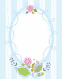 Postcard, frame, blue, striped, colored, contour flowers. Royalty Free Stock Photography